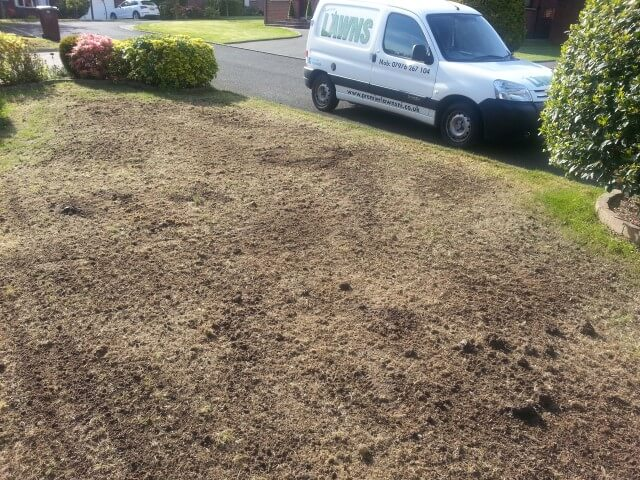 top dressed with soil and reseeded
