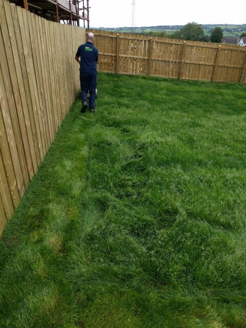 mower cutting newly laid lawn