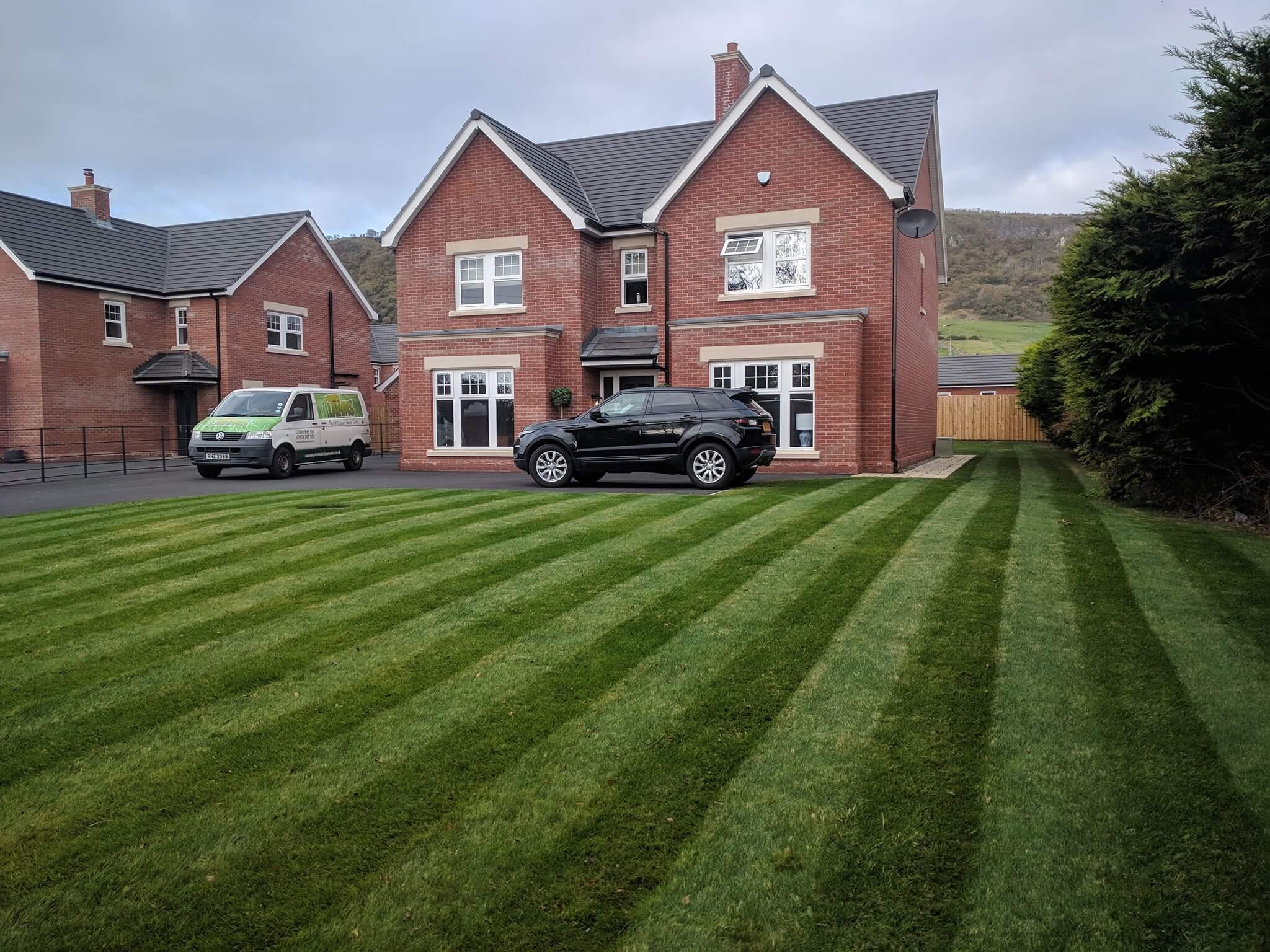 stripes mown into lawn in Belfast